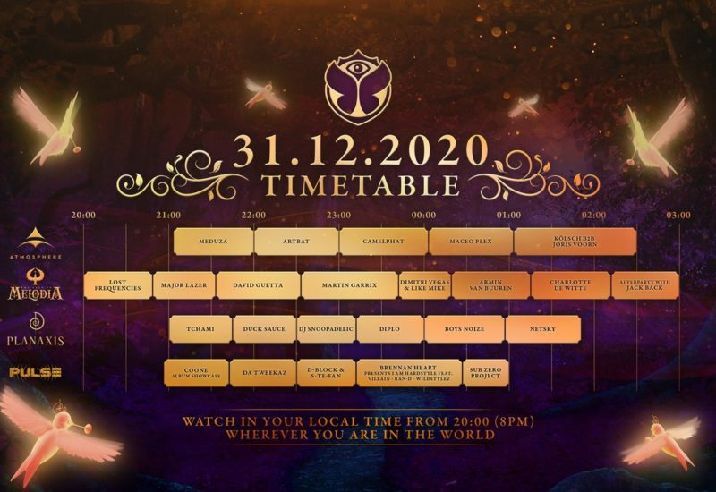 Tomorrowland New Years Eve set times