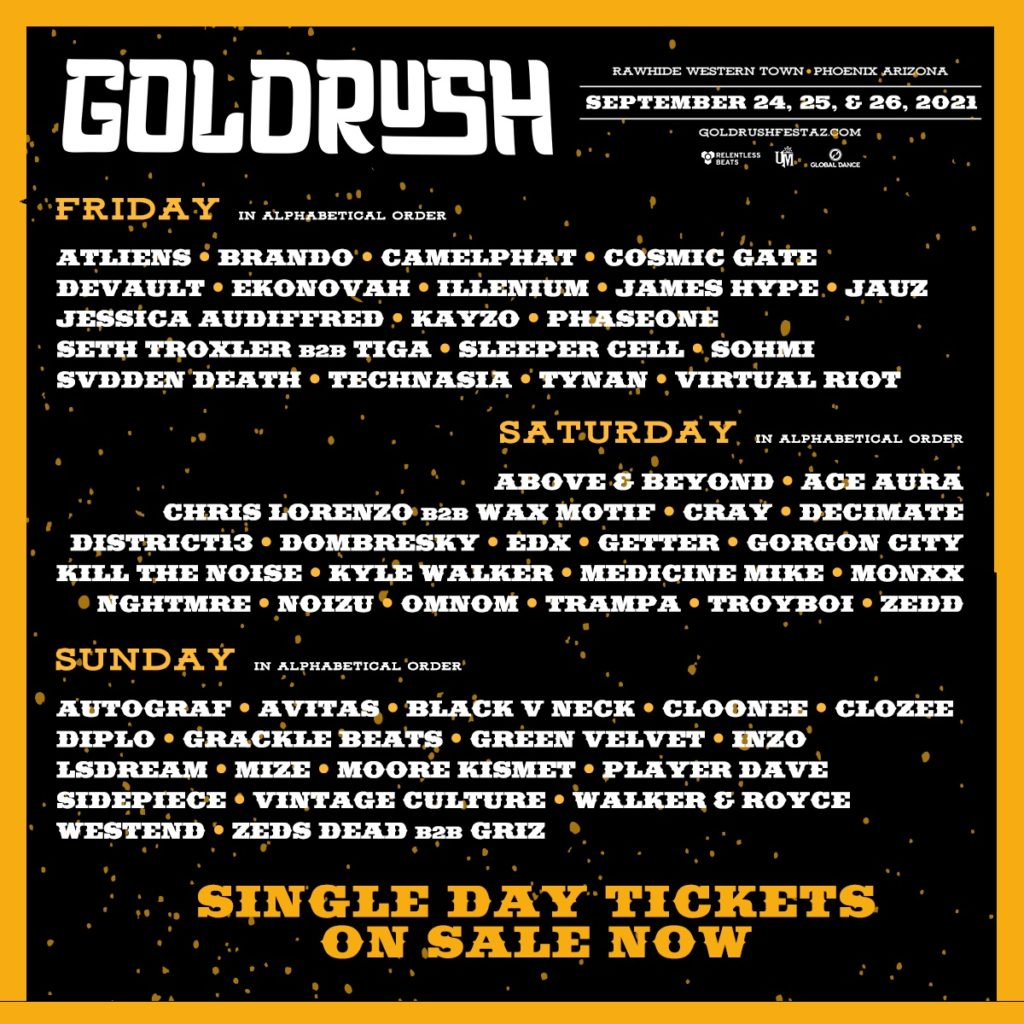 Goldrush Music Festival 2021 Lineup By Day